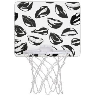 Black Pattern Lips Mini Basketball Hoop