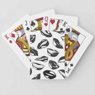 Black Pattern Lips Poker Deck