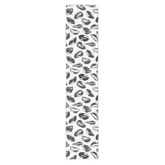 Black Pattern Lips Short Table Runner