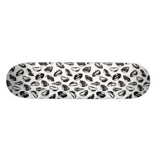 Black Pattern Lips Skateboard Deck