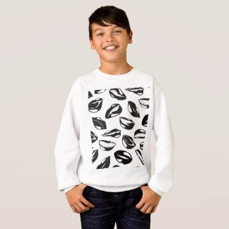 Black Pattern Lips Sweatshirt