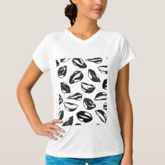 Black Pattern Lips T-Shirt
