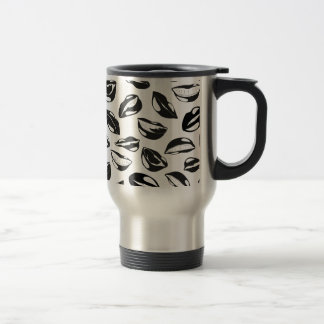 Black Pattern Lips Travel Mug