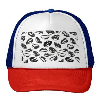 Black Pattern Lips Trucker Hat