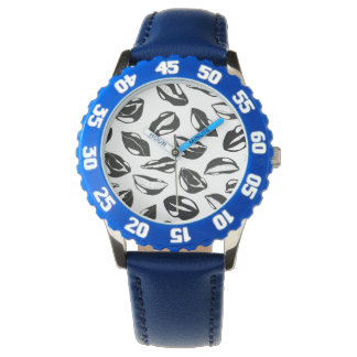 Black Pattern Lips Watch