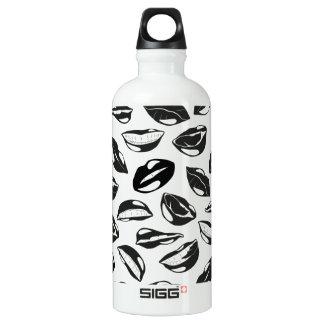 Black Pattern Lips Water Bottle