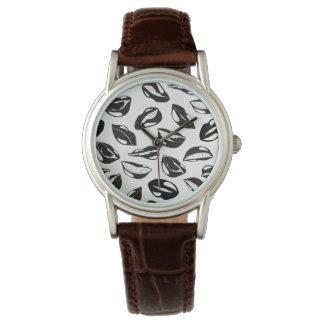 Black Pattern Lips Wrist Watch