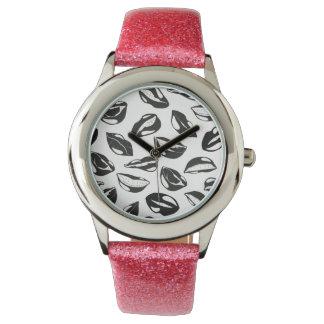 Black Pattern Lips Wrist Watches