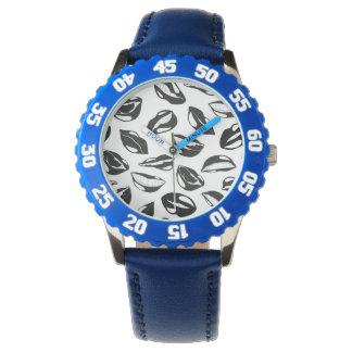 Black Pattern Lips Wristwatch