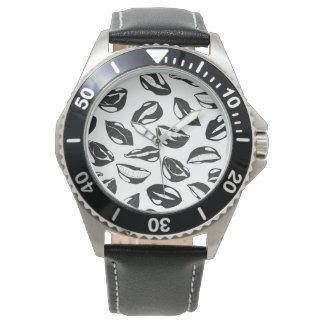 Black Pattern Lips Wristwatches