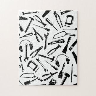 Black Pattern Tools Jigsaw Puzzle