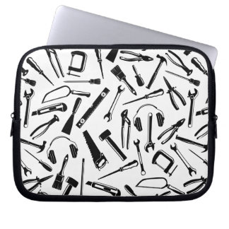Black Pattern Tools Laptop Sleeves
