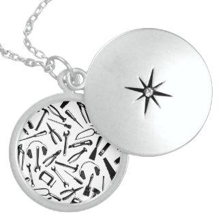 Black Pattern Tools Locket Necklace
