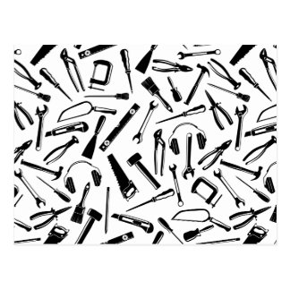 Black Pattern Tools Postcard