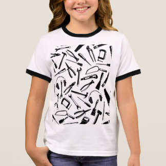 Black Pattern Tools Ringer T-Shirt