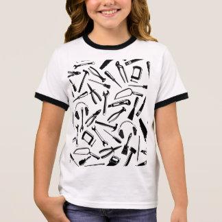 Black Pattern Tools Ringer T-Shirt
