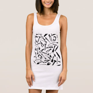 Black Pattern Tools Sleeveless Dress