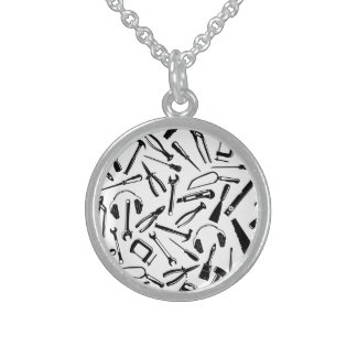 Black Pattern Tools Sterling Silver Necklace