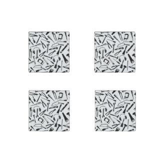 Black Pattern Tools Stone Magnets