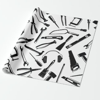 Black Pattern Tools Wrapping Paper