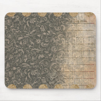 Black Patterned Collage Mousepad