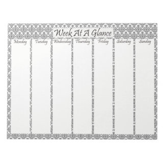 Black Patterned Week At A Glance Notepad