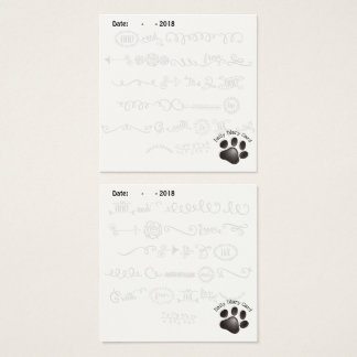Black Paw Daily Diary Card w doodle letters