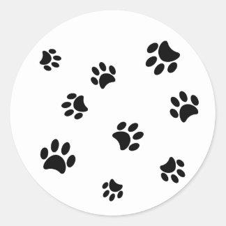 Black Paw Prints Classic Round Sticker