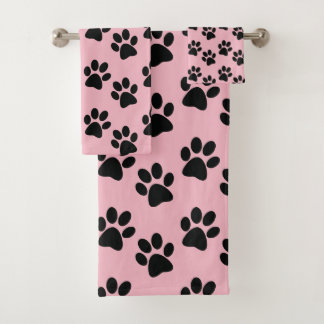 Black Paw Prints Design Bath Towel Set