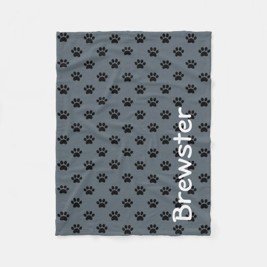 Black Paw Prints on Slate Grey Personalized Fleece Blanket