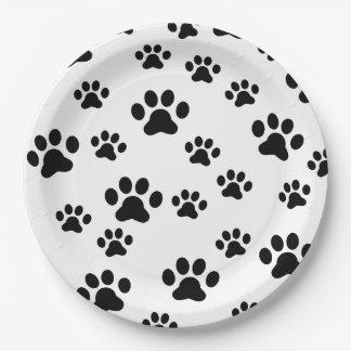 Black paw prints paper plate