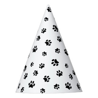 Black Paw Prints Party Hat