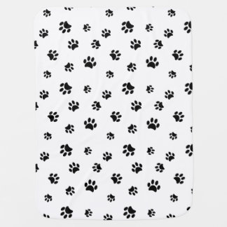 Black Paw Prints Pattern Baby Blanket
