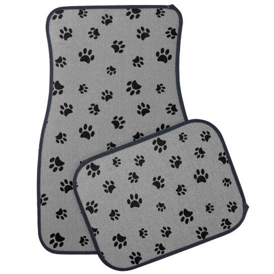 Black Paw Prints Pattern Car Carpet