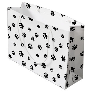 Black Paw Prints Pattern Large Gift Bag