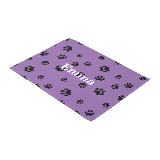 Black Paw Prints Pattern with Purple Background Doormat