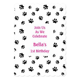 Black Paw Prints Pet Birthday Invitation