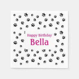 Black Paw Prints Pet Birthday Paper Napkin