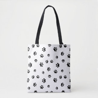 Black Paw Prints Tote Bag