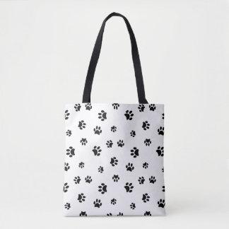 Black Paw Prints Tote Bag