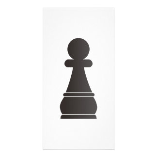 Black Pawn chess piece Custom Photo Card
