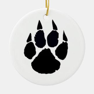 Black Pawprint Ceramic Ornament