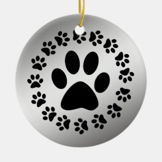 BLACK PAWS ON SILVER ORNAMENT