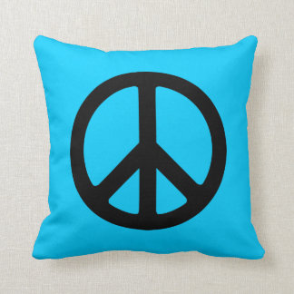 Black Peace Sign Throw Pillow