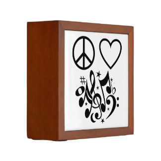 Black Peace Symbol Love Heart Dancing Music Notes Pencil Holder