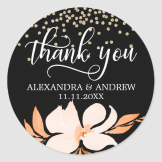 Black Peach Pink Floral Wedding Thank You Classic Round Sticker