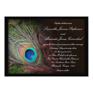 Black Peacock Feather w/Moss Wedding Invitations