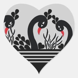 black peacock heart sticker