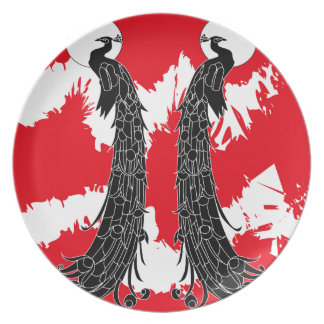 Black peacock party plates