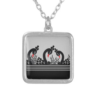 black peacock silver plated necklace